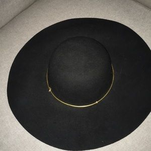 Wide Brim Wool Hat with brass embellishment!